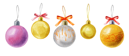 Watercolor Vector Christmas balls isolated on white background. Holiday design elements. Hand drawn watercolor illustration