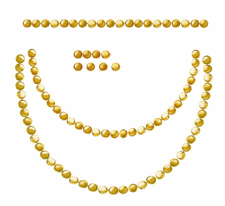 White background with hanging beautiful shiny painted watercolor garlands of gold beads. Vectores
