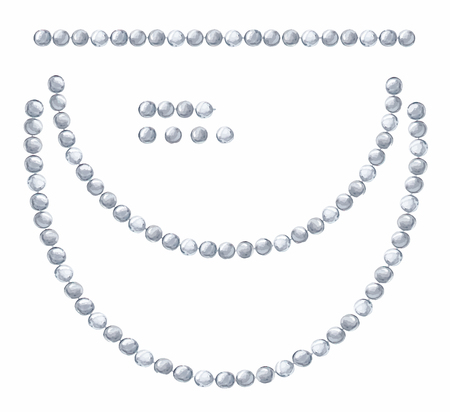 White background with hanging beautiful shiny painted watercolor garlands of silver beads.