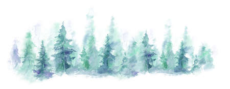 Blue landscape of foggy forest, winter hill. Wild nature, frozen, misty, taiga. watercolor background