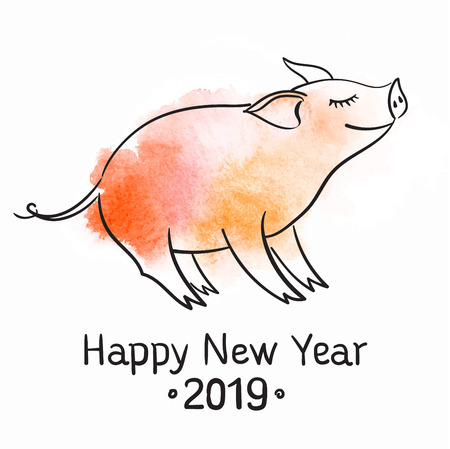 Template for greeting card. The pig is a symbol of the New Year of 2019. Black and white linear vector illustration.
