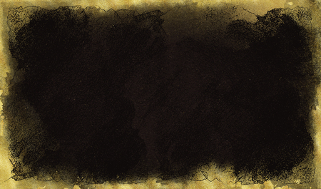 Black background with gold scuffs and spots. Template for greeting cards, logos, posters, blogs, website Фото со стока - 106587596