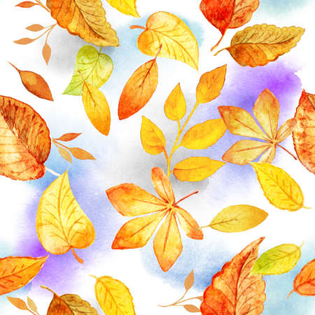 seamless pattern with autumn leaves drawing by watercolor. Template for DIY projects, wedding invitations, greeting cards, posters, blogs, website
