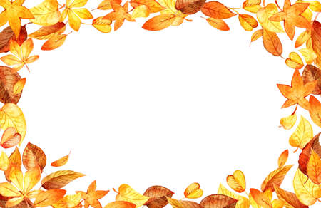 Autumn Leaves Fall horizontal Frame. Watercolor Illustration Isolated Leaf Border. Template Foto de archivo