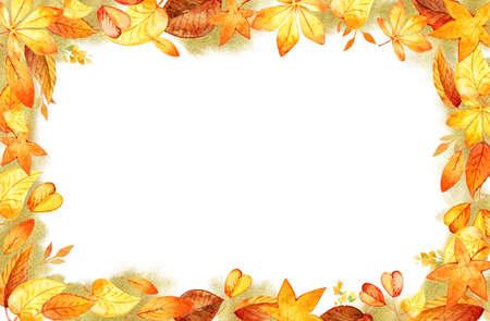 Autumn Leaves Fall Frame Template Watercolor Illustration Isolated Orange Leaf Border