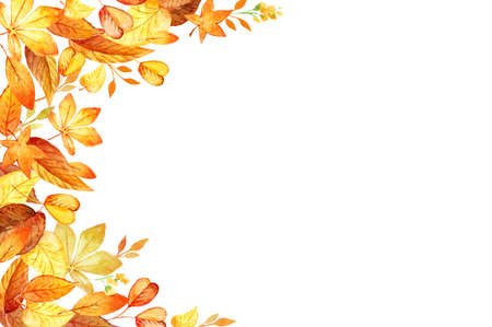 Watercolor illustration with colored leaves. Ideal for design banners, leaflets, posters with space for your text. Template for DIY projects, wedding invitations, greeting cards, posters, blogs, website