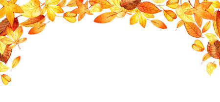 Watercolor illustration with colored leaves. Ideal for design banners, leaflets, posters with space for your text. Foto de archivo