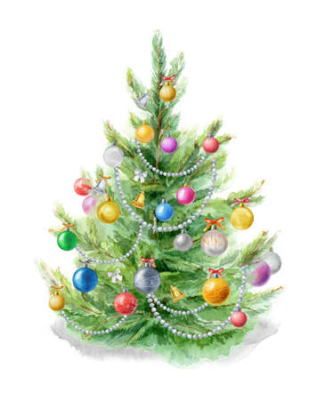 Watercolor illustration: Christmas tree decorated with balls on a white background. Template for the design of posters, cards, invitations 免版税图像