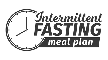 Logo of Intermittent fasting meal plan. Clock face symbolizing the principle of Intermittent fasting. Vector illustration. Infographic