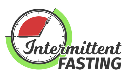 Logo of Intermittent fasting. Clock face symbolizing the principle of Intermittent fasting. Vector illustration. Infographic Çizim