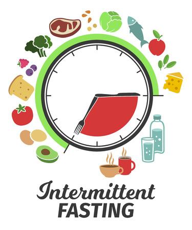 Schema e concetto di digiuno intermittente. Quadrante dell'orologio che simboleggia il principio del digiuno intermittente. Illustrazione vettoriale. Infografica