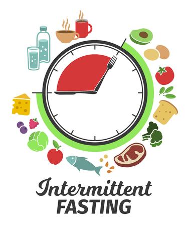 Esquema y concepto de ayuno intermitente. Esfera de reloj que simboliza el principio del ayuno intermitente. Ilustración de vector. Infografia