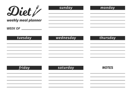 Template for the creation of the Diet food menu. Black and white Vector illustration. Seven-day horizontal meal plan.