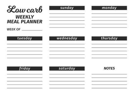 Template for the creation of the food menu Low Carb Diet. Vector illustration. Seven-day horizontal meal plan. black and white illustration Illusztráció