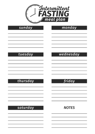 Template for the creation of the Intermittent fasting food menu. Vector illustration. Seven-day vertical meal plan. black and white illustration