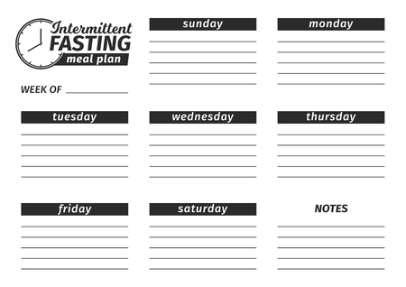 Template for the creation of the Intermittent fasting food menu. Vector illustration. Seven-day horizontal meal plan. black and white illustration