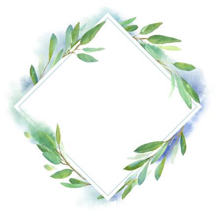 Watercolor botanical design frame for wedding invitation design, branding, web sites, social media. Geometric shape rhombus