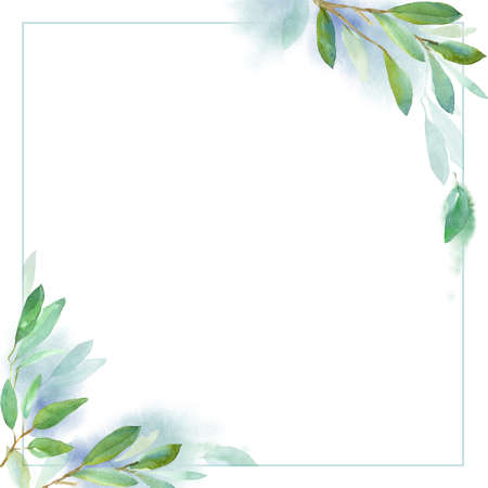 Seamless floral pattern with leaves, textured background for design projects, textile, wrapping, wallpaper, web sites, social media. Green watercolor background