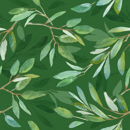 Seamless floral pattern with leaves, textured background for design projects, textile, wrapping, wallpaper, web sites, social media. Green Watercolor background Foto de archivo