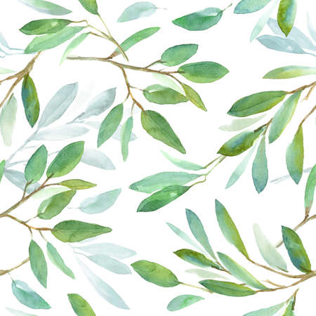 Seamless floral pattern with leaves, textured background for design projects, textile, wrapping, wallpaper, web sites, social media. White watercolor background 免版税图像