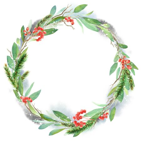 Watercolor winter floral wreath. Christmas illustration. Hand painted tree branches composition with berries, fir branches Фото со стока