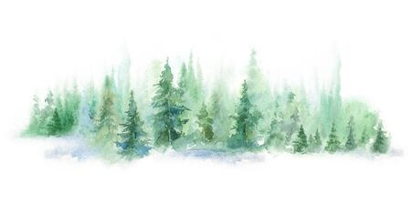 Green landscape of foggy forest, winter hill. Wild nature, frozen, misty, taiga. watercolor horizontal background