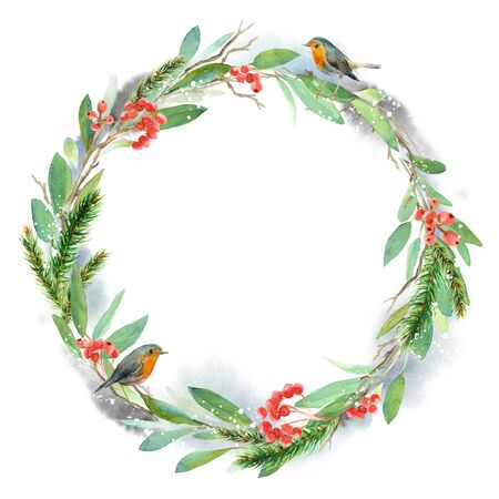 Watercolor winter floral wreath. Christmas illustration. Hand painted tree branches composition