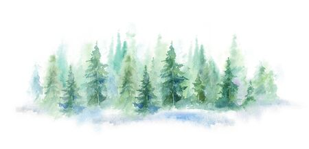 Green landscape of foggy forest, winter hill. Wild nature, frozen, misty, taiga. horizontal watercolor background