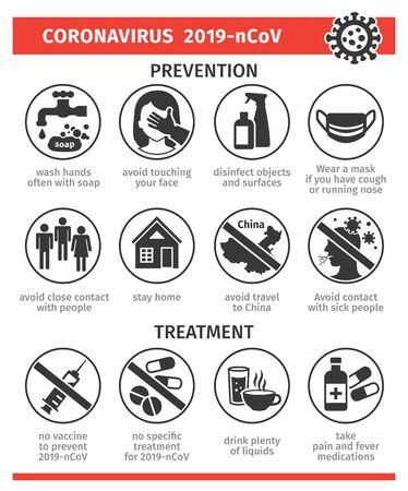 Prevención y tratamiento de los iconos de virus. Ilustración de vector