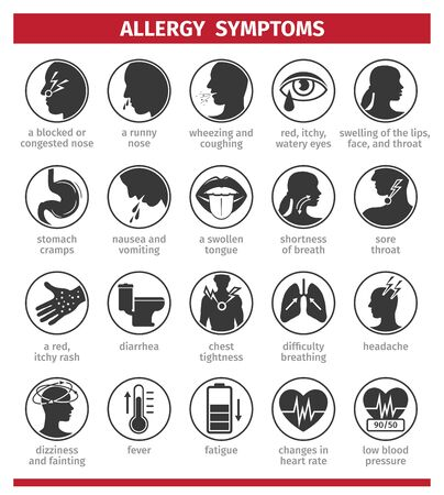Signs and symptoms of allergies. Icons set. Template for use in medical agitation. Vector illustration, flat icons.
