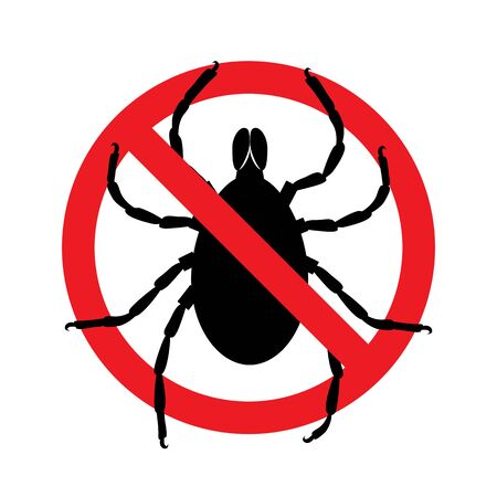 Stop ticks sign. Prohibitory symbol. Template for use in medical agitation. Vector illustration, flat icon.