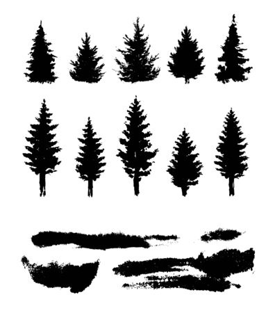 Silhouette of the forest. Template elements for creating a landscape. Vector Black and white isolated elements.