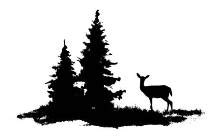 Vector composition Forest silhouette landscape. Young deer at the edge. Black and white isolated elements Element for design. Illustration