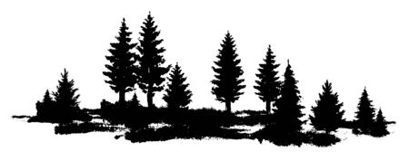 Vector Forest silhouette landscape composition. Black and white isolated elements Element for design.
