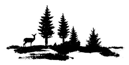 Vector composition Forest silhouette landscape. Young deer at the edge. Black and white isolated elements Element for design.