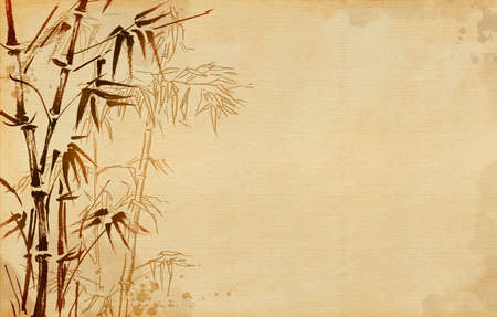 Hand painted bamboo. Horizontal vintage background canvas.