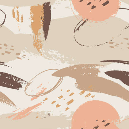 Seamless pattern templates with abstract shapes in brown and pastel pink. Idea for wedding invitations, flyers, newsletter, poster, magazine cover, packaging.