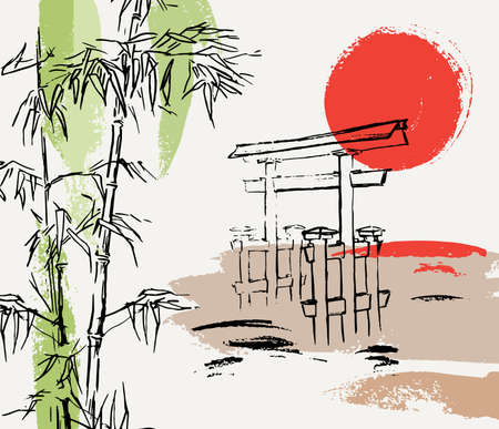 Sunset composition with bamboo, japanese gate and abstract shapes. Torii. Idea for wedding invitations, flyers, newsletter, poster, magazine cover, packaging. Ilustracja