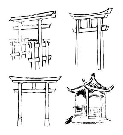 Sketch gate asian isolated on white background. Artistic isolated design elements Ilustracja