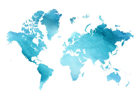 Illustrated blue watercolor map of the world with a isolated bac