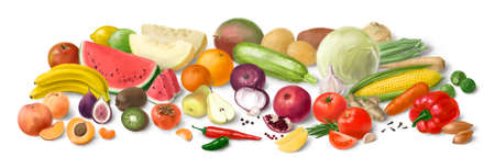 Collage of fresh vegetables and fruit for layout isolated on white background. Hand-drawn illustration. Banque d'images