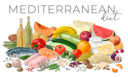 Nutrition concept for Mediterranean diet. Assortment of healthy food ingredients for cooking. Hand drawn illustration.