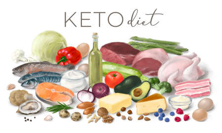 Healthy low carbs KETO products. Nutrition concept for Ketogenic diet. Assortment of healthy food ingredients for cooking. Hand drawn illustration. 스톡 콘텐츠