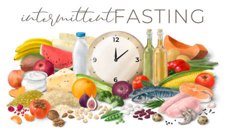 Nutrition concept for Intermittent fasting. Assortment of healthy food ingredients for cooking. Hand drawn horizontal illustration.