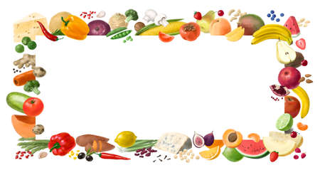 Concept for healthy food . Organic products. Decorative horizontal frame. Template for design. Hand drawn illustration.