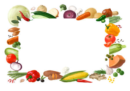 Nutrition concept for Vegan food. Healthy products. Assortment of healthy nutrition. Decorative horizontal frame. Template for design.