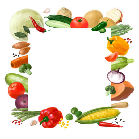 Nutrition concept for Vegan food. Healthy products. Assortment of healthy nutrition. Decorative square frame. Template for design.