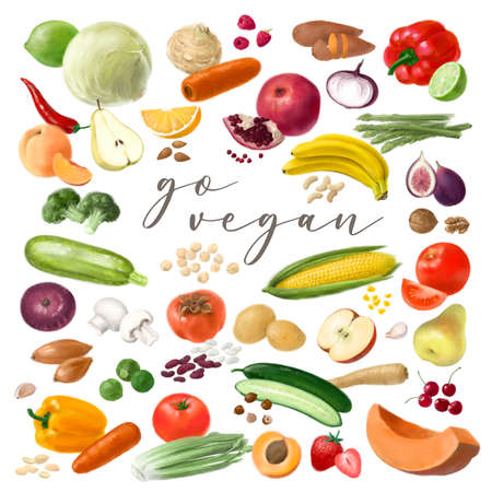 Nutrition concept for Vegan food. Healthy products. Assortment of healthy nutrition. Hand drawn illustration.