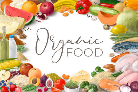 Nutrition concept for healthy organic food. Assortment of healthy food ingredients for cooking. Hand drawn illustration.
