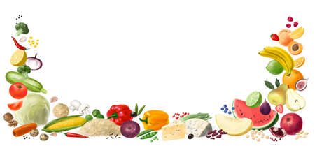 Nutrition concept for Healthy food. Assortment of healthy nutrition. Decorative horizontal frame. Template for design.